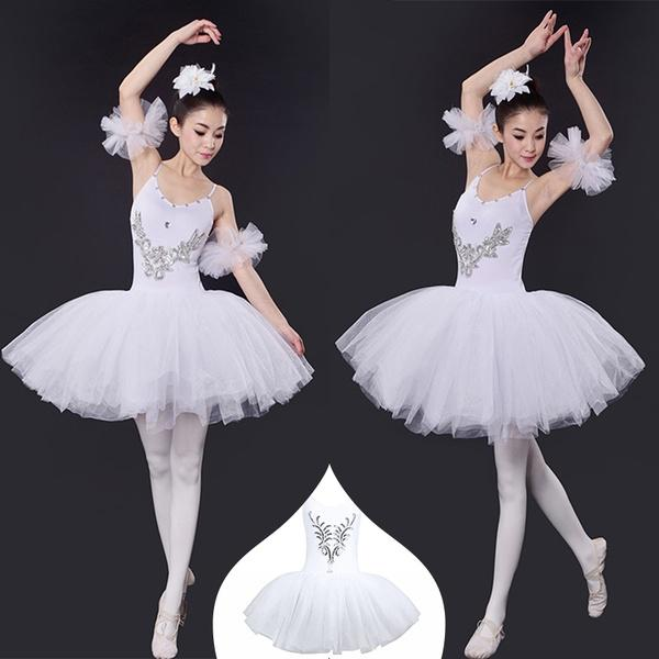 7080f9819 Fancy Women Ballet Leotard Swan Lake Costumes Sleeveless Sequined ...