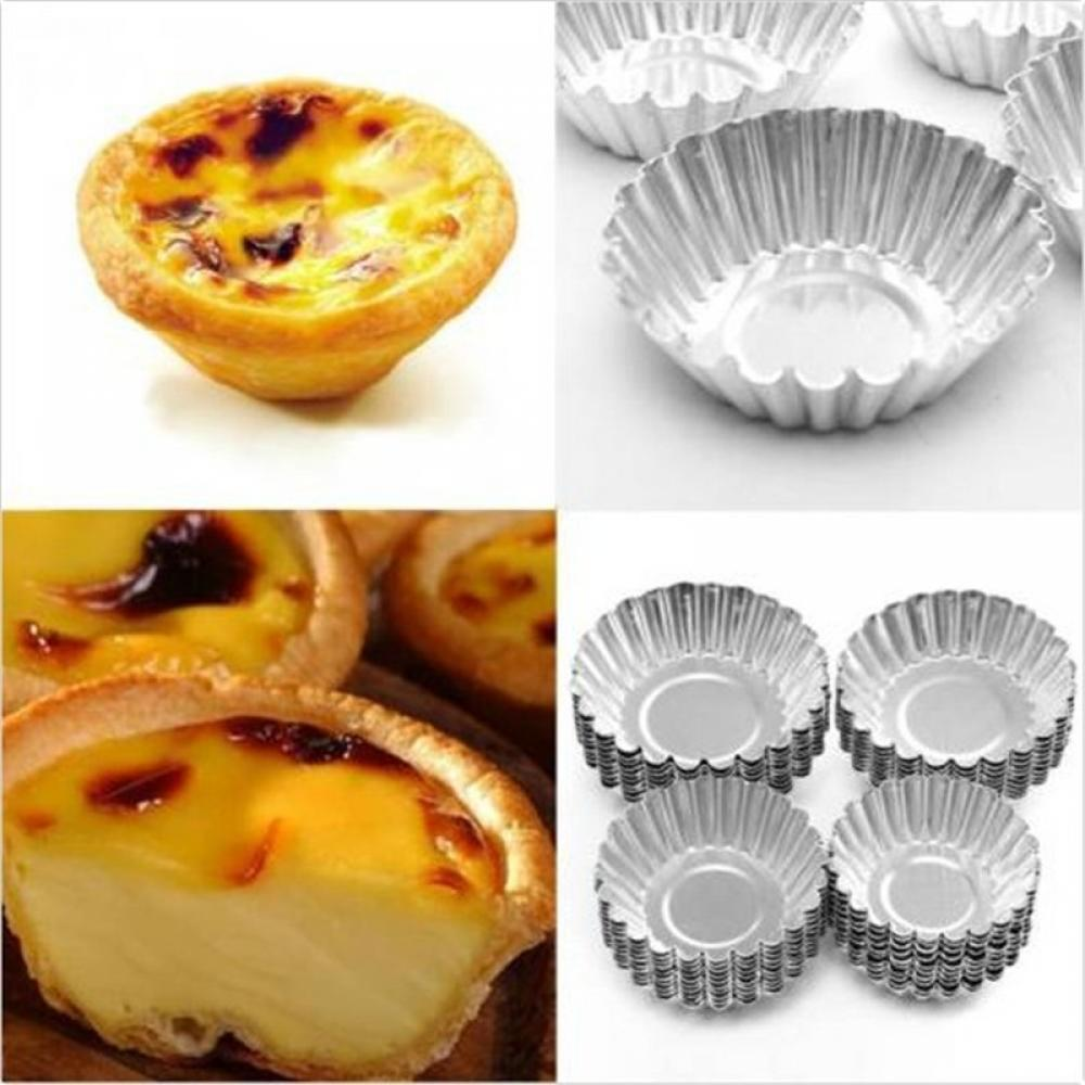 10Pcs//kit Egg Tart Aluminum Cupcake Cake Cookie Mold Lined Mould Tin Baking Tool