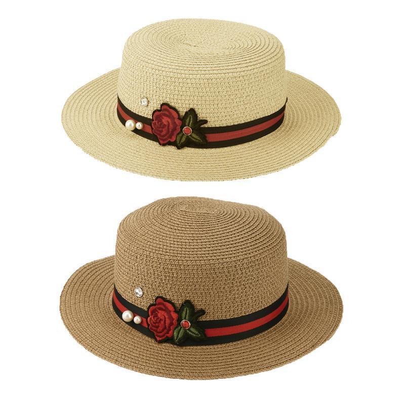 平顶草帽女 夏天防晒遮阳沙滩帽可爱小清新玫瑰花朵平沿小礼帽 女