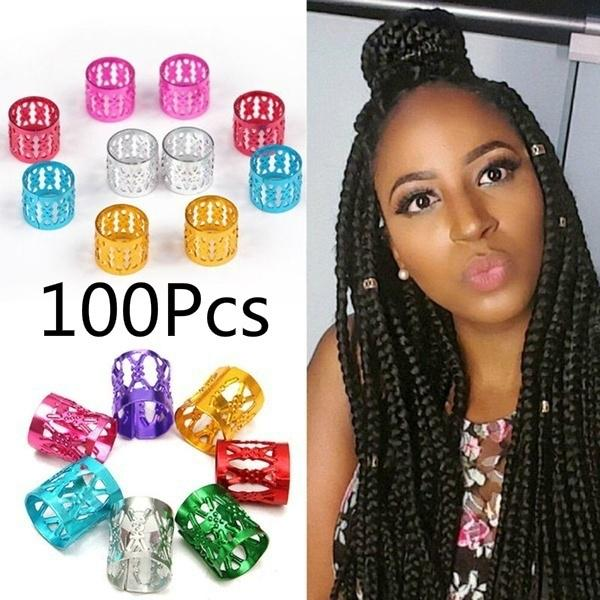 10Pcs Fabric Dreads   Beads Hair Braid Cuff Clips Pendants 10mm Hole