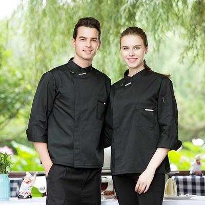 Unisex Hotel Kuchnia Szef Kuchni Ubrania Robocze Mężczyźni Pieczenie Kurtka Szefa Kuchni Długie Rękawy Męskie Płaszcze Szefa Kuchni