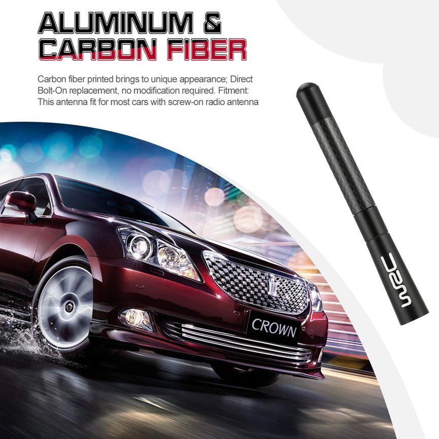 New Universal Black Aluminium Real Carbon Fiber Antenna 120mm Fit Most Of Cars
