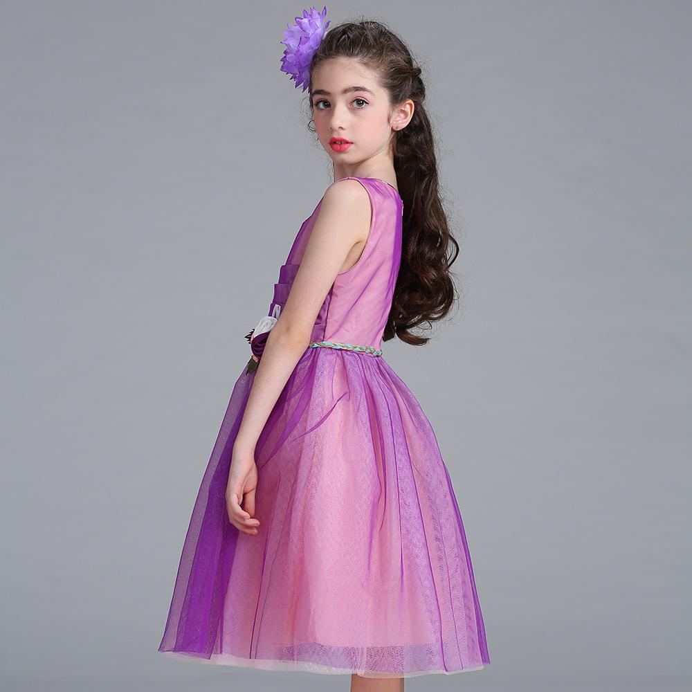Niña vestido de fiesta sin mangas moda falda con cinturón - comprar ...