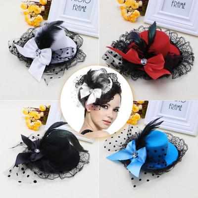 black veiling feather red mini top hat fascinator millinery wedding party race