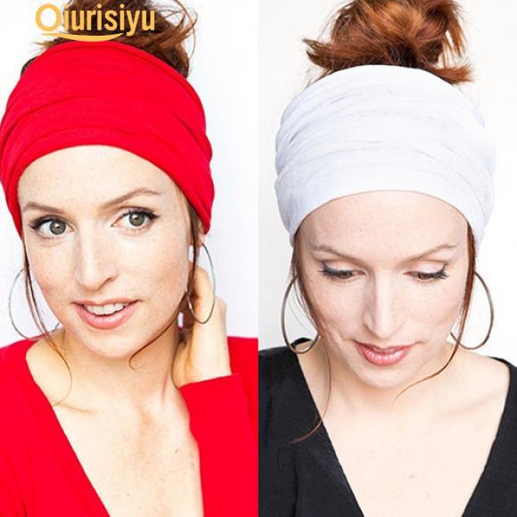 Women Girl Turban Extra Wide Headband Elastic Hair Band Head Wrap Hair Accessory