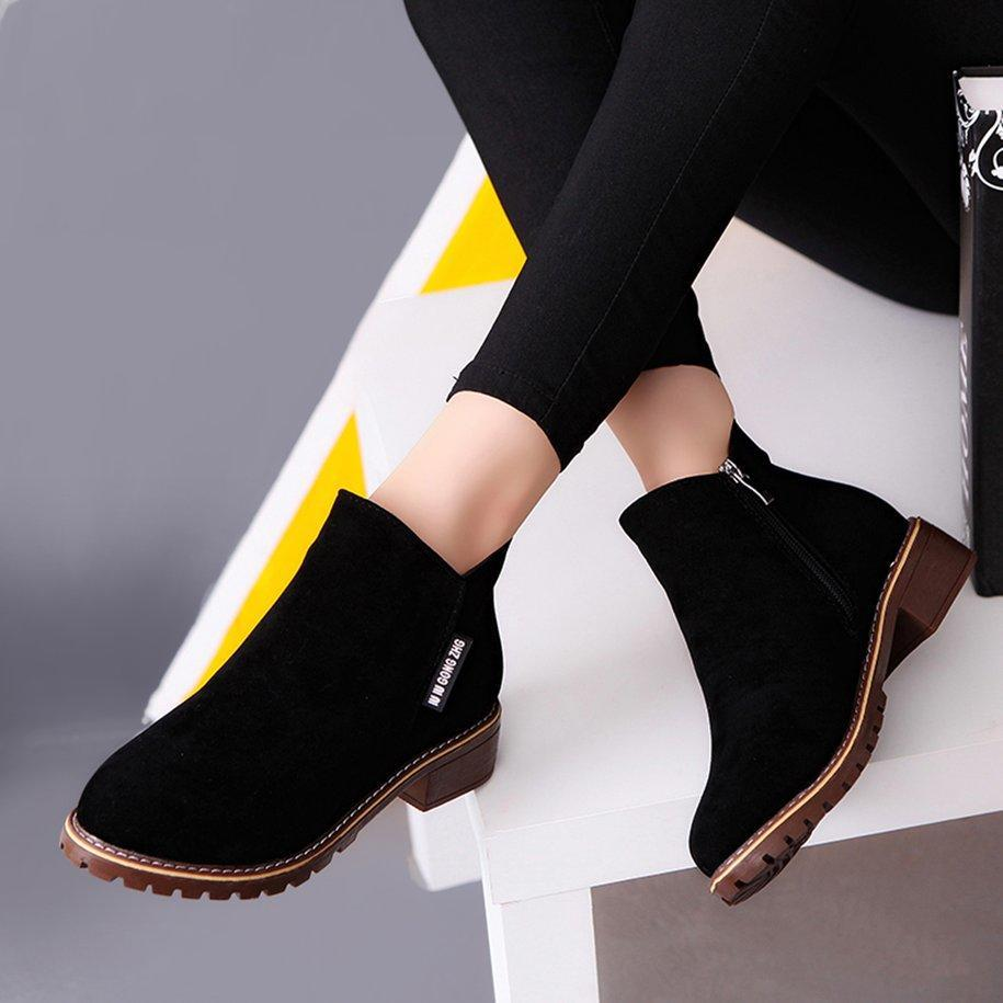 3459349f7 Women Ankle Boots Short Martin Boots Chunky Heels Boots Female ...