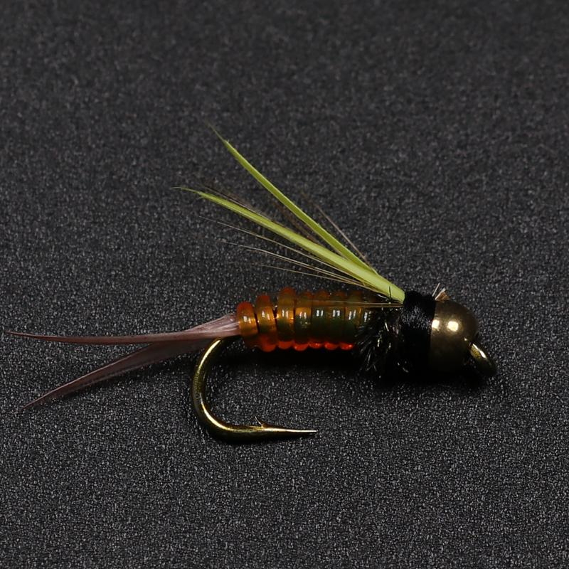 Details about  /6PCS Trout Bluegill Fishing Lures Brass Bead Head Nymph Fly Fishing Hook BaiHEN