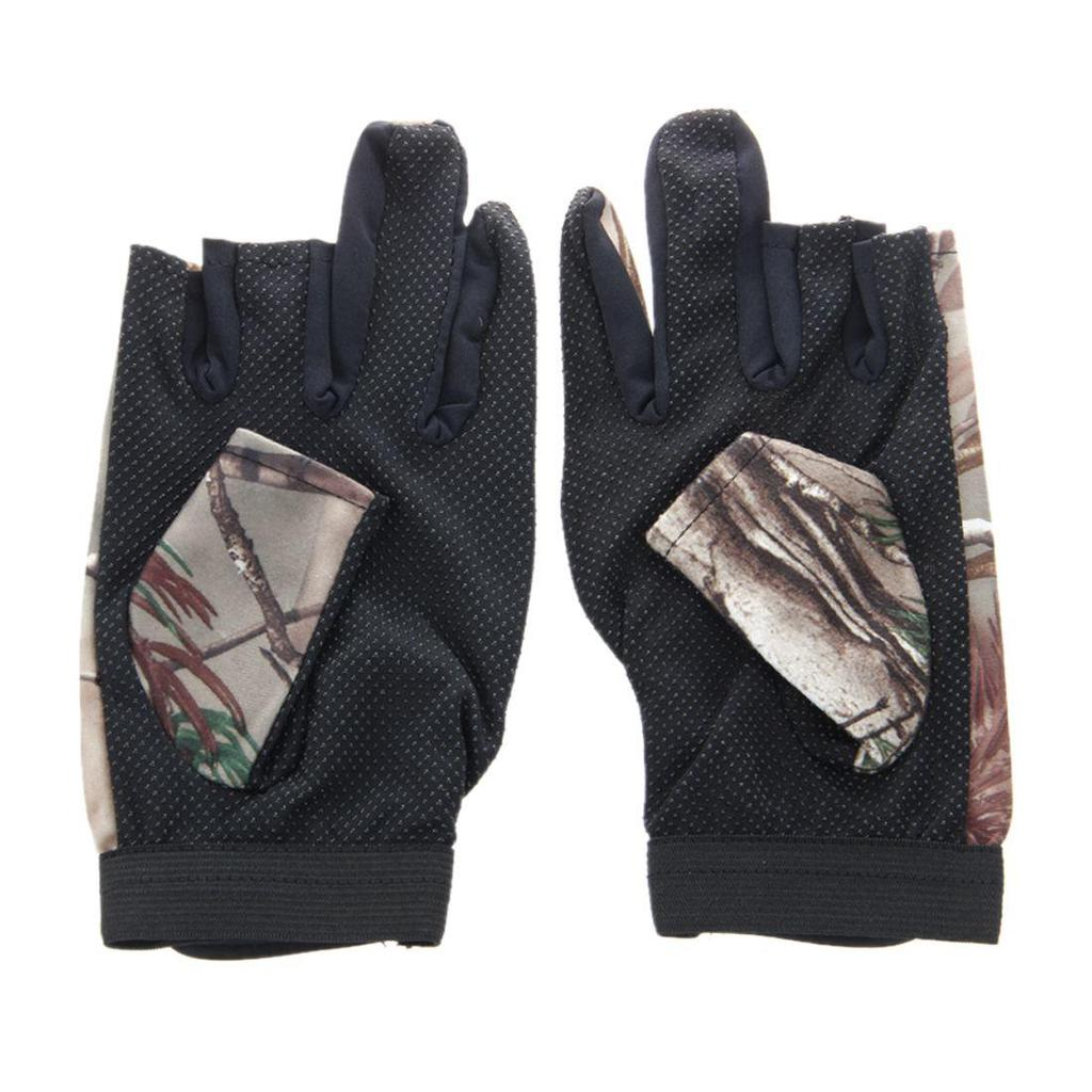 3 Shorter Finger Waterproof Fishing Gloves Hunting Anti-Slip Mitts Shooting