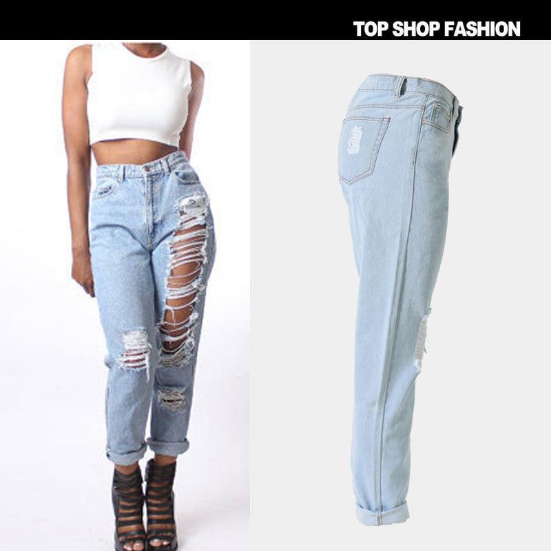cintura de 100 agujero de rasgado pantalones los de grandes agobiados tallas de mujer tobillo vaqueros para flojo pantalones verano moda algodón alta vqwpqZ