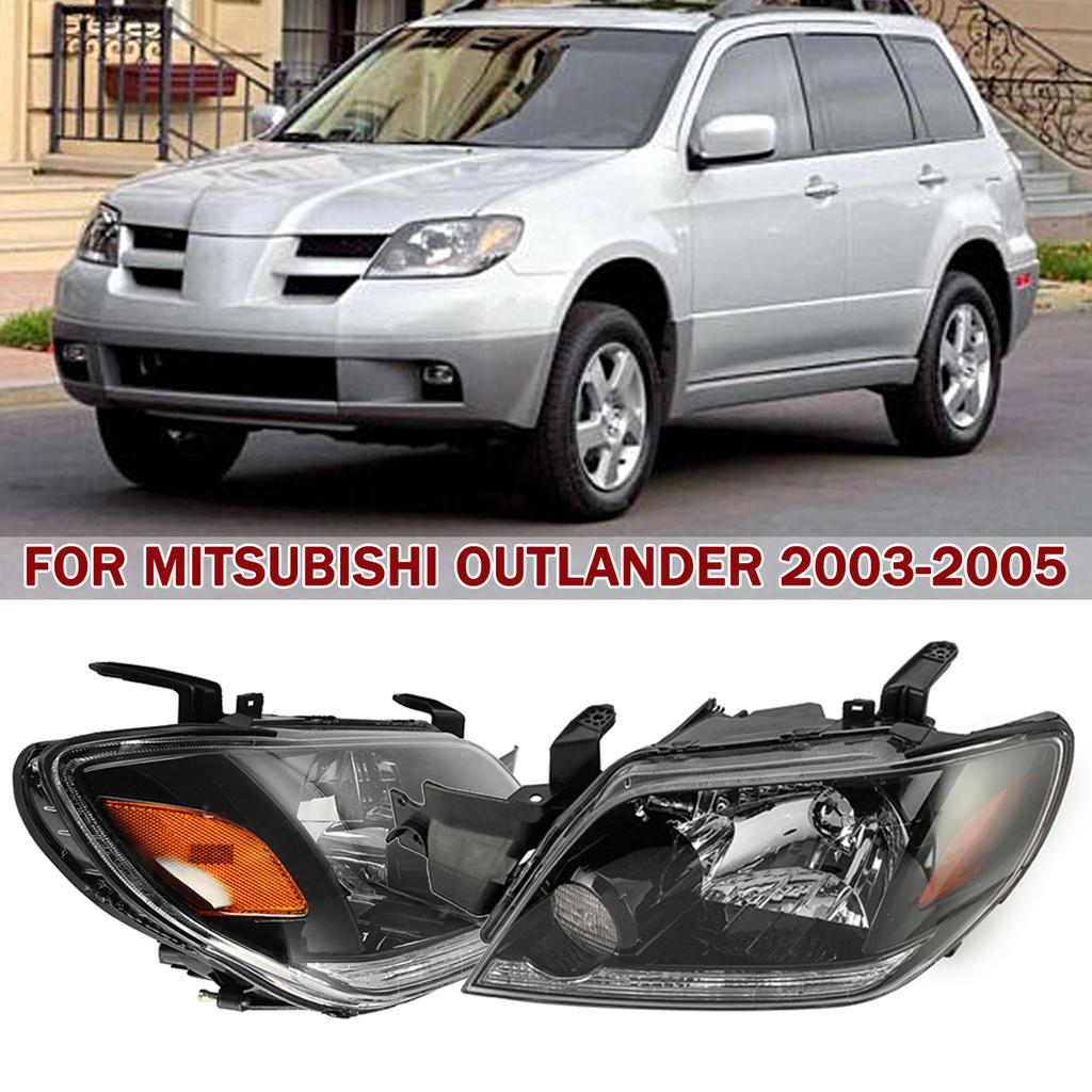 Left and Right Front Head lamps Headlights 2*For 2003-2005 Mitsubishi Outlander