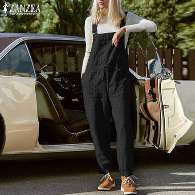 ZANZEA Women Strappy Casual Harem Pants Wide Legs Dungraee Bib Cargo Pants Plus