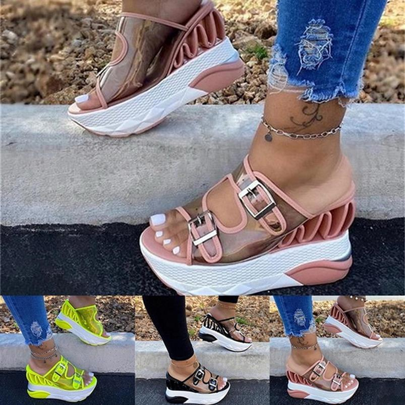 Nis Damen Sandalen Wedge Strand  Hausschuhe  Peep Toe Slip Pailletten Schuhe