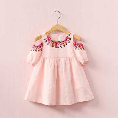 Baby Girls Toddler Sleeveless Lemon Peach Print Dress Splice Denim Dresses Embroidered Tulle Dresses