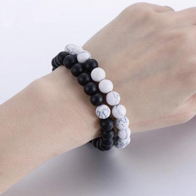 Couples Vintage Bracelet Women Men Natural Stone Yin Yang Beaded Bracelets 8mm Jewelry