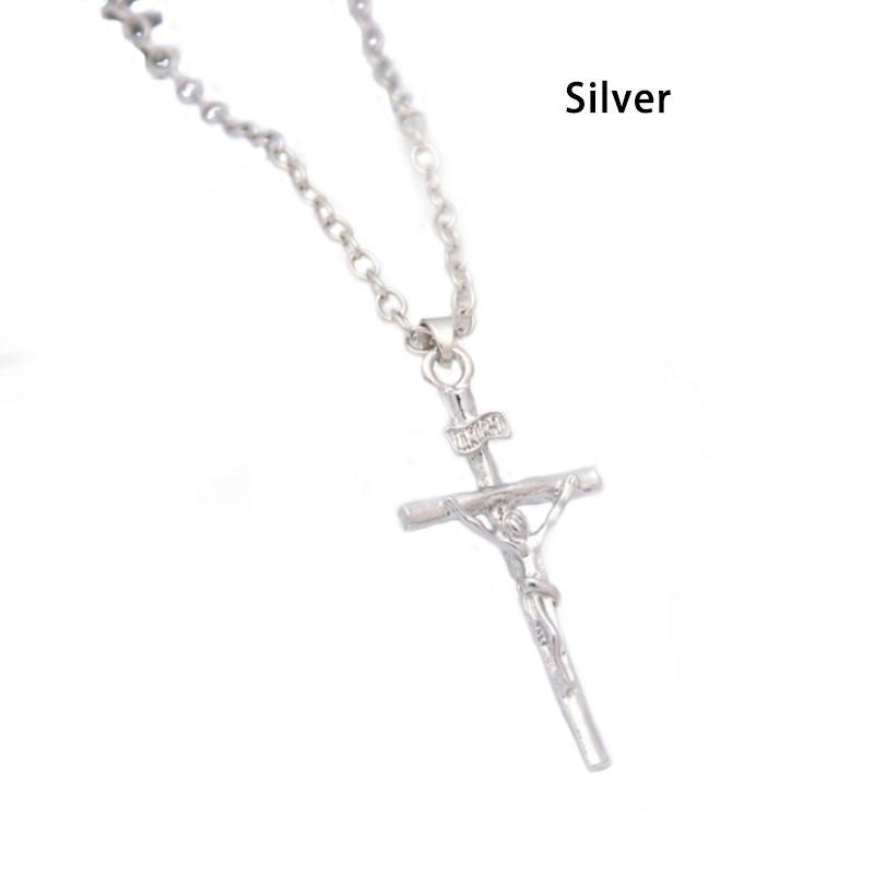 Collar cruz de cristal con incrustaciones en la Placa de Plata Colgante Crucifijo Jesús