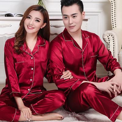 Domple Mens V Neck Sleepwear Ice Silk Nightwear Long Sleeve Pajama Sets