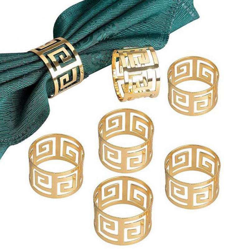 4pcs Napkin Rings Wooden Bead Serviette Buckle Holders Wedding Party Table Decor