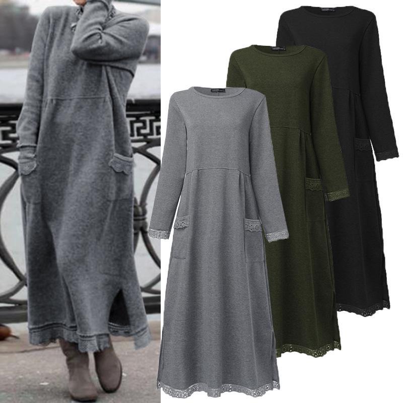 ЗАНЗЕА Дамы Мода Зимняя теплая Pullover Sweatshirt платье случайный длинный рукав Макси Робс