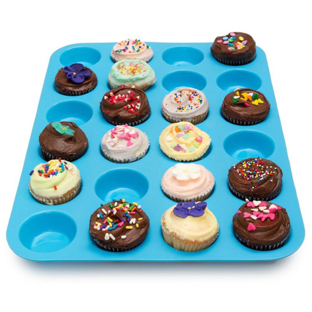 Silicone 24 Cup Tray  Mini Cookies Muffin Mould Pan Cupcake Cavity Bakeware