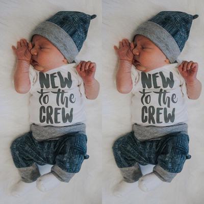 706468e8826d Newborn Infant Kid Baby Boy Girl 3pcs Clothes Jumpsuit Romper Long Pants  Outfit