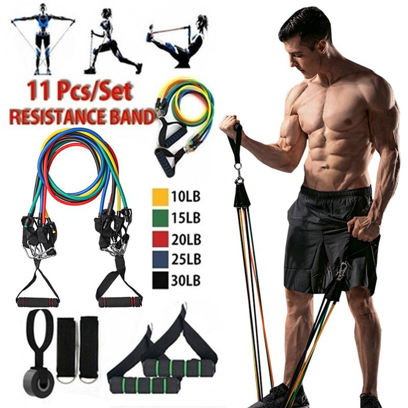 11x Resistance Bands Pull Rope Gym Home Fitness Workout Crossfit Yoga Tube G T6