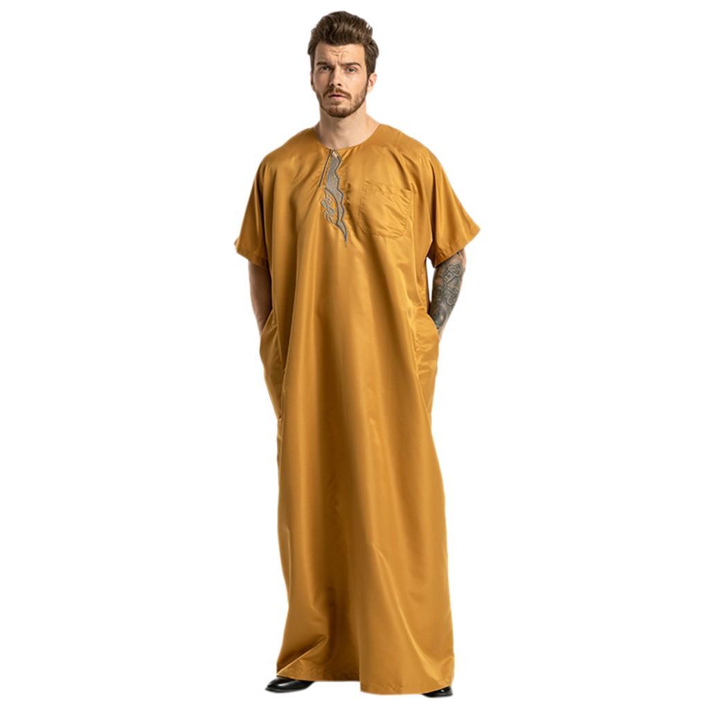 Mens Muslim Dress,2019 Long Sleeve Casual Loose Ethnic Middle East Kaftan Abaya Robe Maxi Dress for Men