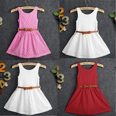 Lovely Baby Girls Kids Lace Hollow Out Dress Clothes Sleeveless Dresses Sundress