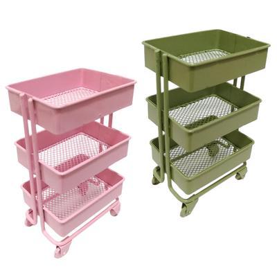Modern 1//12 Miniature 3 Tier Storage Shelf w// 4 Wheels for Dollhouse Decor