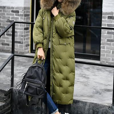 Women s Coat with Fur Hood Contain 90% Down Thermal Parka Long Puffer  Jacket with Cap 38b469348961