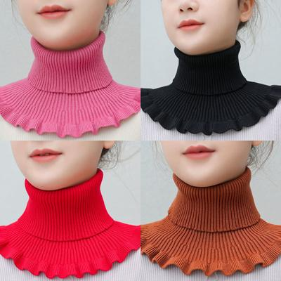 Neck Women's Head Autumn and Winter Warm Neck Cover Cervical Vertebrae with Decorative Fake Collar Knitted High-necked Wool Collar