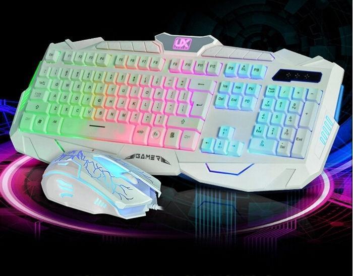 UThink Colorful Illuminated Rainbow Backlit Keyboard USB Wired ...