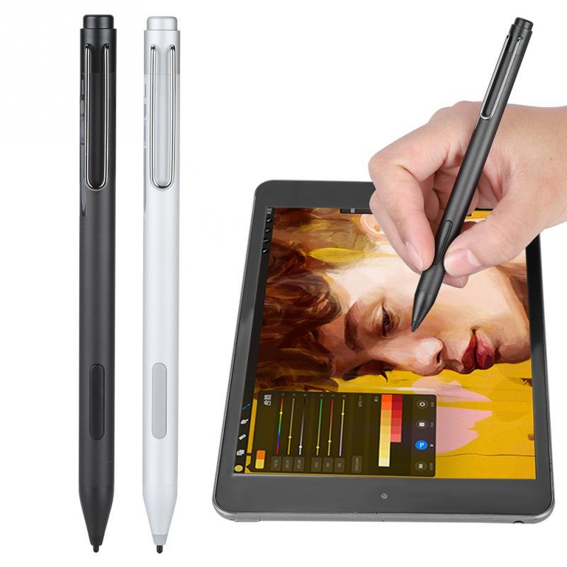 ASHATA Touch Screen Stylus Portable Professional Touch Screen Active Tablet Stylus Pen for Microsoft Surface Pro3 Pro4,Stylus Pen Fast Reaction with Eraser//Right-Click Side Buttons Silver