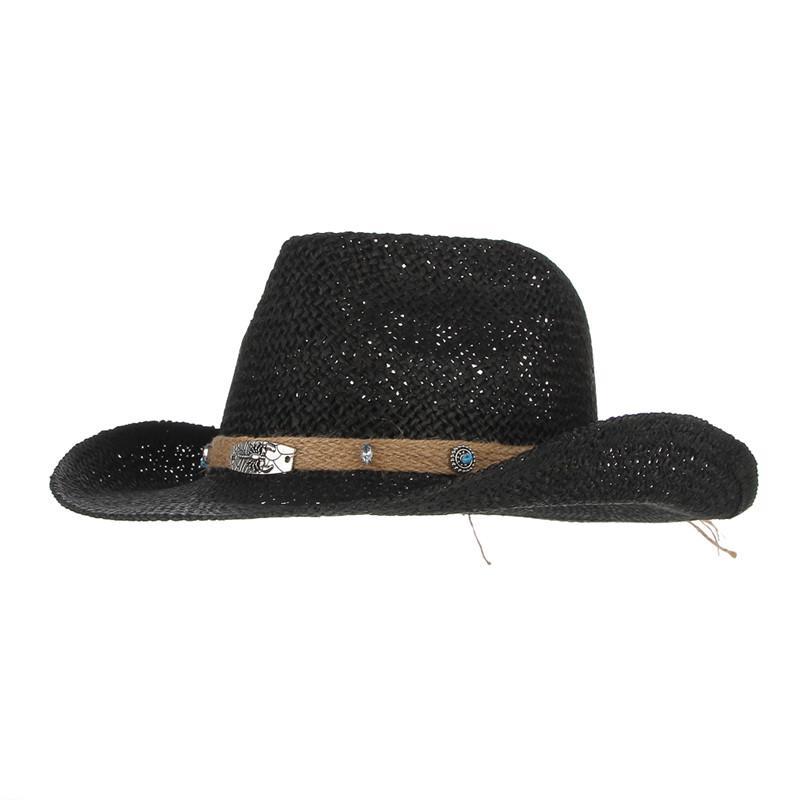 53ed7e0fee3c0 Western Cowboy Cap For Men Wide Brim Sun Hat Hollow Out Straw Hats ...