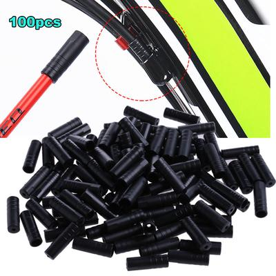 100pcs Bicycle Brake Cable End Cap Cycling Bike Shifter Wire Crimps Tips Silver