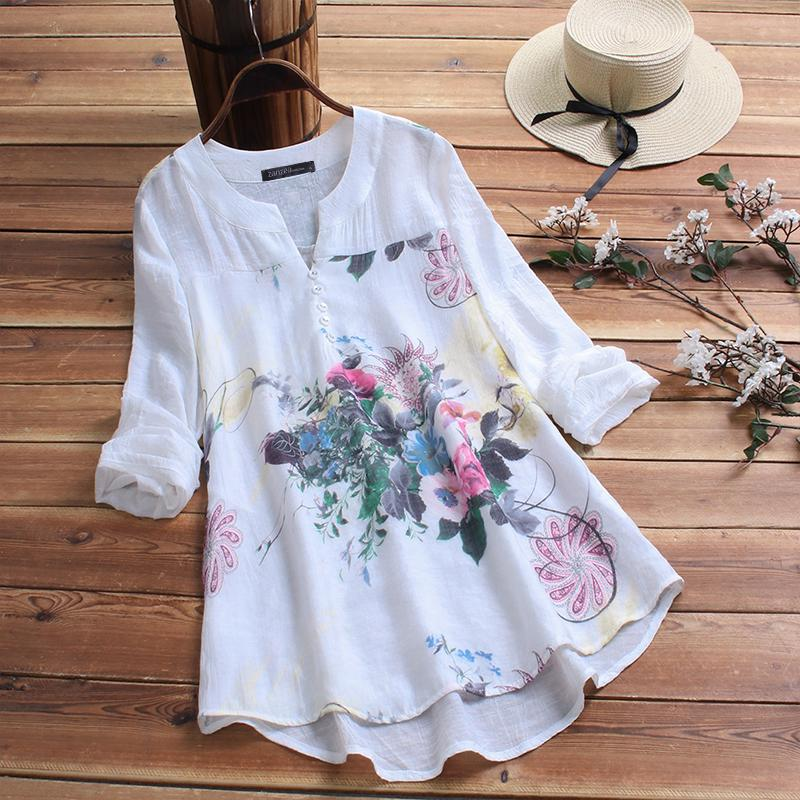 ZANZEA Women Summer Floral Printed Top Blouse Ladies Casual Shirt Pullover Tunic