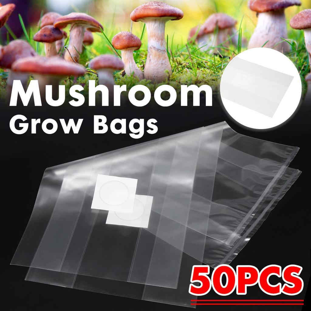 "50-100PCS PVC Mushroom Spawn Grow Bag 4×14/"" Substrate High Temp Pre Sealable US"
