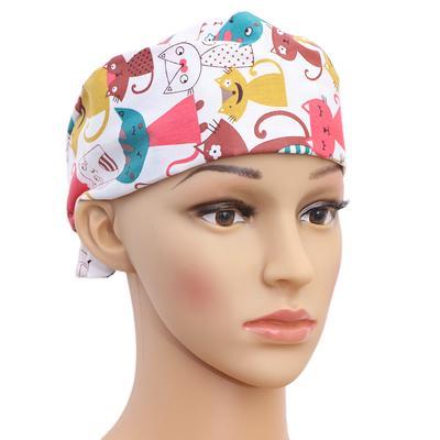 1pc Surgical Cap Printed Sweat Absorbing Hat Cute Elastic Cap for Doctors Nurses