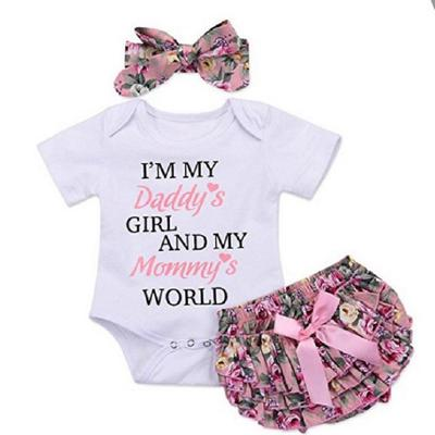Headband 3pcs Clothes Set 0-24M Infant Baby Girl Letter Romper Bowknot Shorts