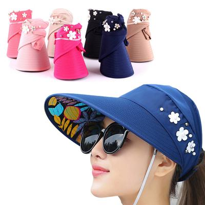 f03a8d21982 Summer Sun Hats Pearl Packable Sun Visor Hat With Big Heads Wide Brim Beach  Hat