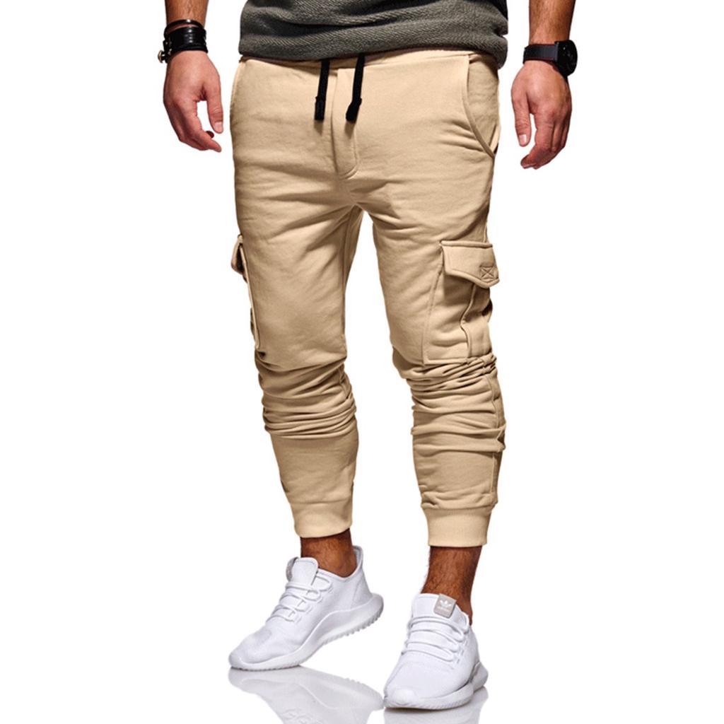 d7ce78b45a Llano de hombres Slim Fit urbano pierna recta pantalones casuales ...