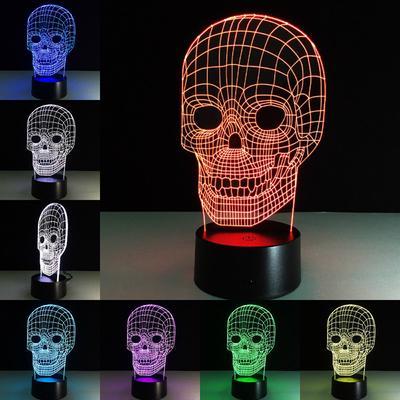 3d визуальные 3d новизна череп маска светодиодные лампы ночь свет