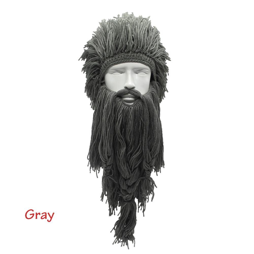 Mask Funny  Handmade Knitted Long Beard Crazy Ski Cap Viking Horn Hat Beanie