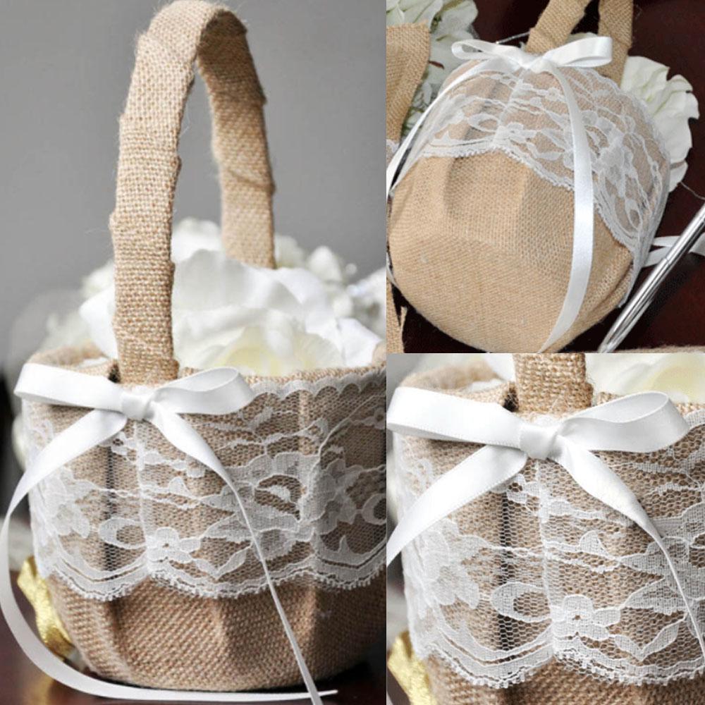 Satin Bowknot Pearls Flower Girls Basket Wedding Party Accessories