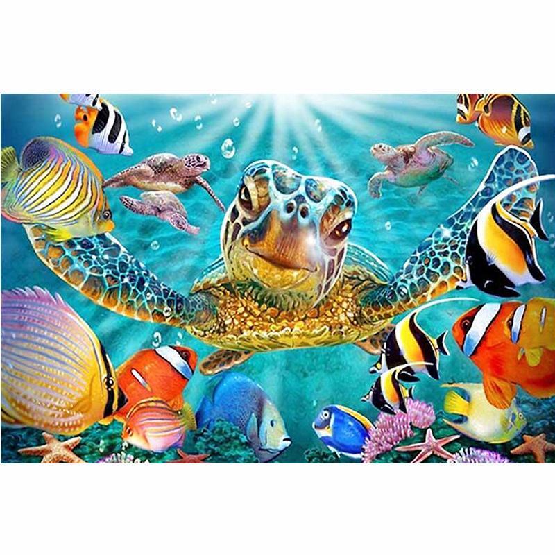 5D Diamond Painting Sea Turtle Full SquareRound Drill Animal Mosaic 3D Diamond Embroidery Cross Stitch Kits Wall Painting Home Decor Gifts