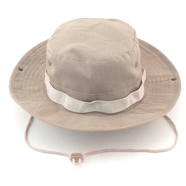 Sombrero boonie de ala ancha moda unisex adulto deportes al aire libre  gorra sombrero de pesca caqui claro 474b8d67b2b