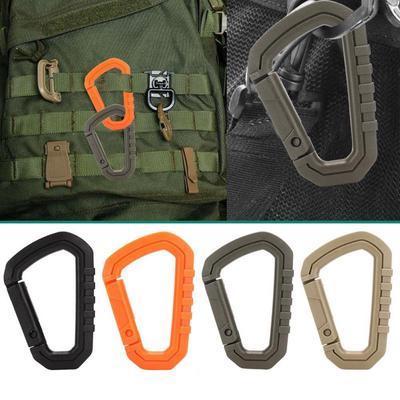 D shape 200LB carabiner spring snap key chain clip hook lock outdoor buckle  .ES