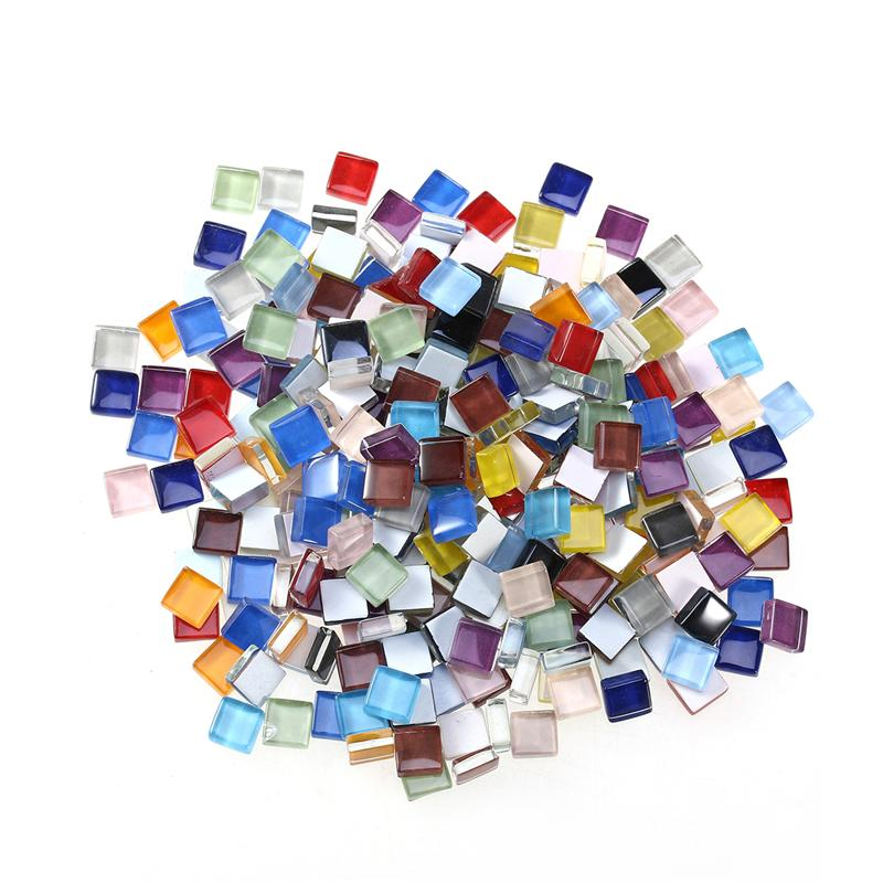 300g 350x Rhombus Shape Glass Mosaic Tiles Pieces for Art DIY Crafts 10mm Clear