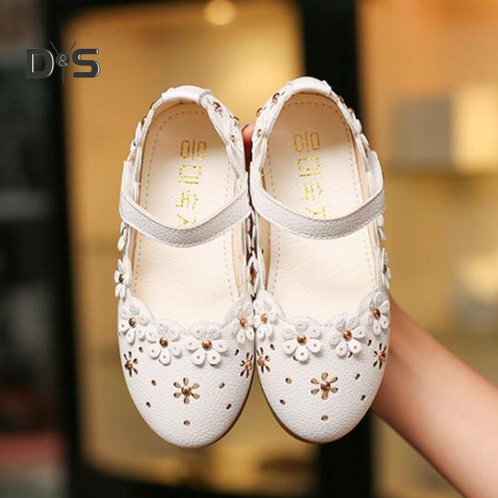 Kids Girl Baby Faux Leather Pointed Toe Rivet T-strap Casual Sandals Flats Shoes