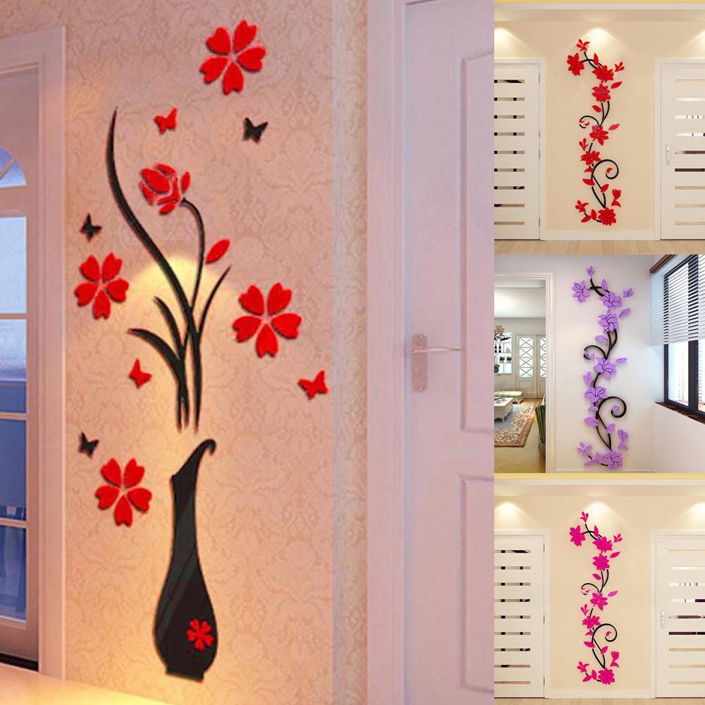 Feitong DIY Ваза Цветочное дерево Кристалл Арциклик 3D Стена наклейки Decal Главная Декор – купить по низким ценам в интернет-магазине Joom
