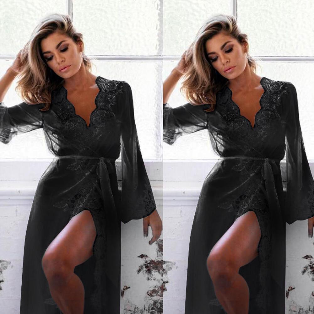 Винтажное женское сексуальное нижнее белье, халат, ночная рубашка, кружевная одежда для сна, однотонная, с длинными рукавами, ночная рубашка, пижамы, модные – купить по низким ценам в интернет-магазине Joom